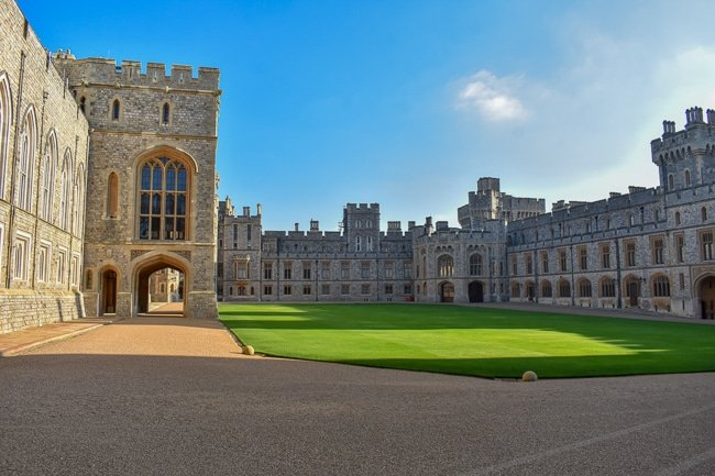 The Quadrangle courtyard inside Windsor Castle. It's one of the best photo spots in the UK.