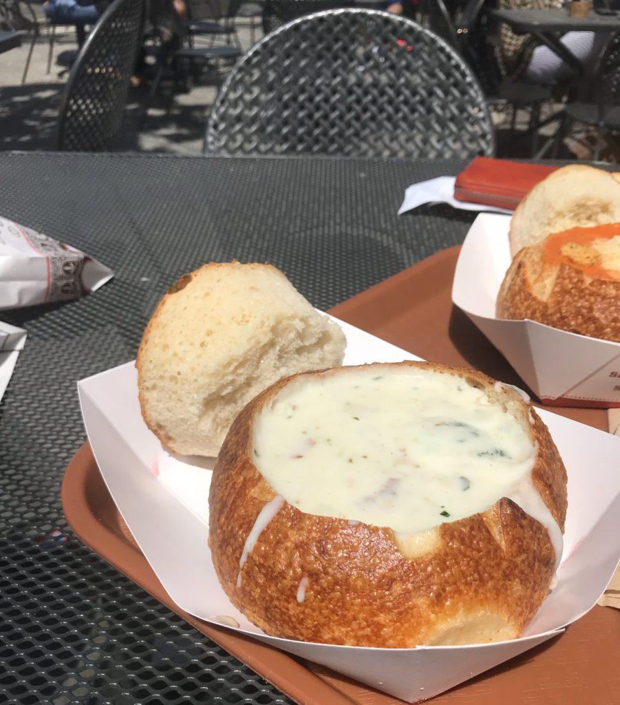 Clam chowder bread bowl in San Francisco