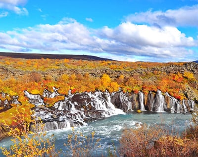 Hraunfossar Waterfall is one of the most Instagrammable places in Iceland.