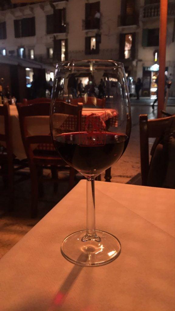 Wine in Verona at the Piazza delle Erbe.