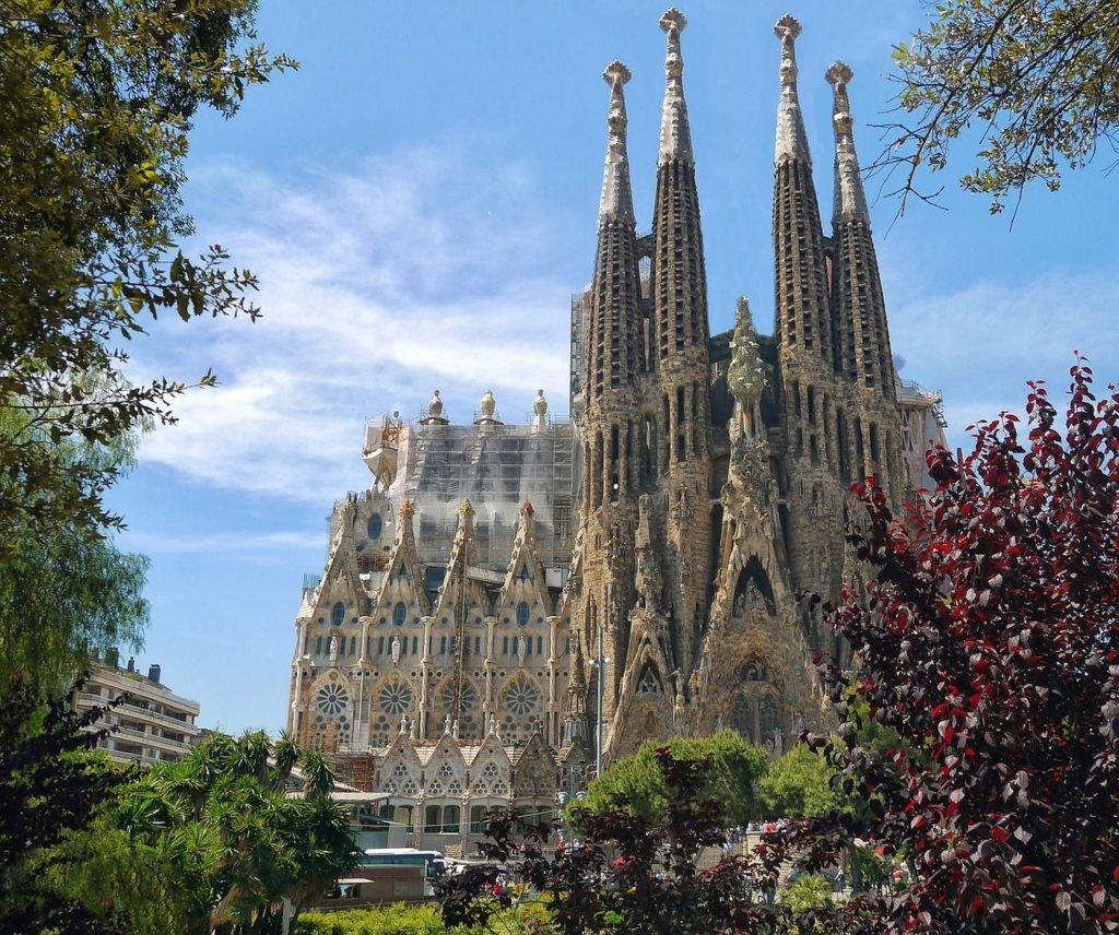 Sagrada Familia, most beautiful cities in Europe. It's located in the heart of Barcelona, one of the prettiest cities in Europe.