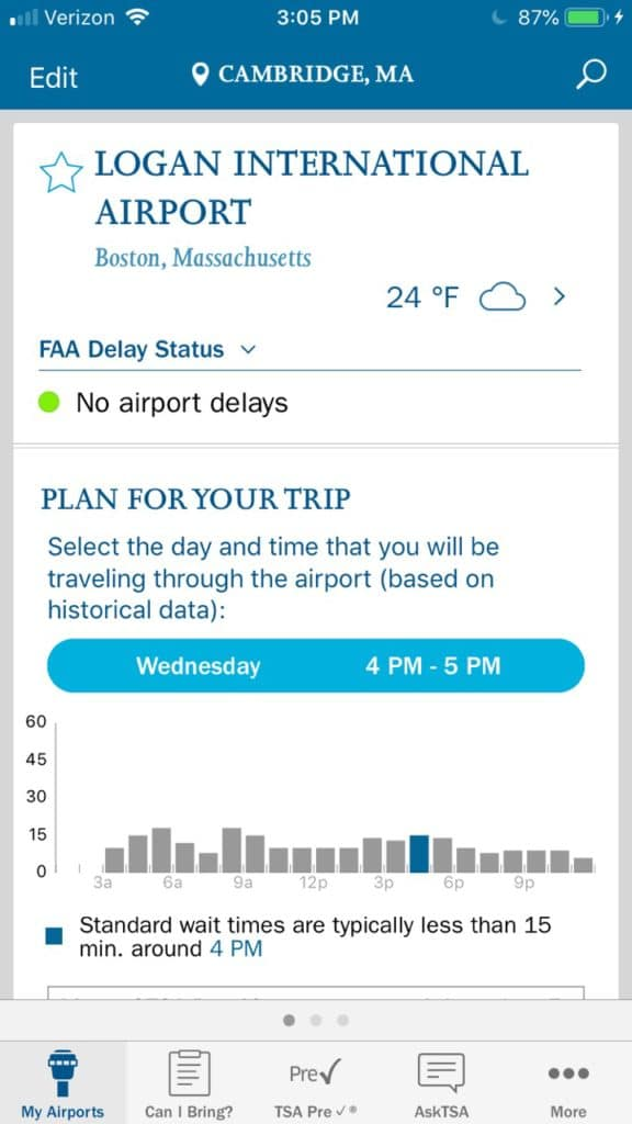MyTSA is a reliable app for US travelers. It's one of the best travel apps for the US.