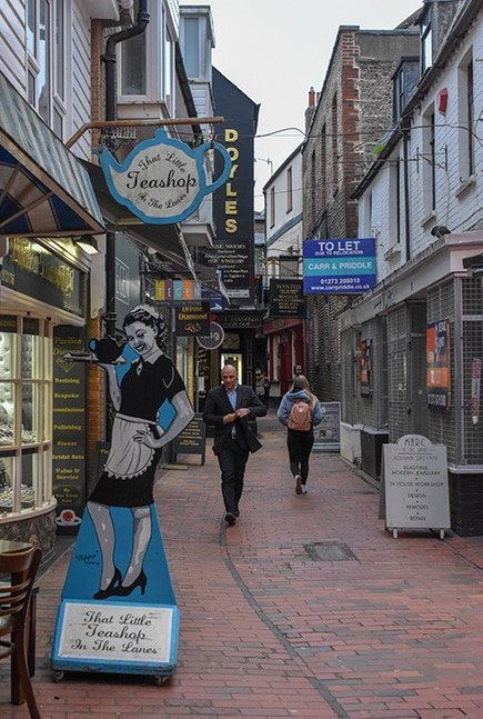 The Lanes in Brighton, England.