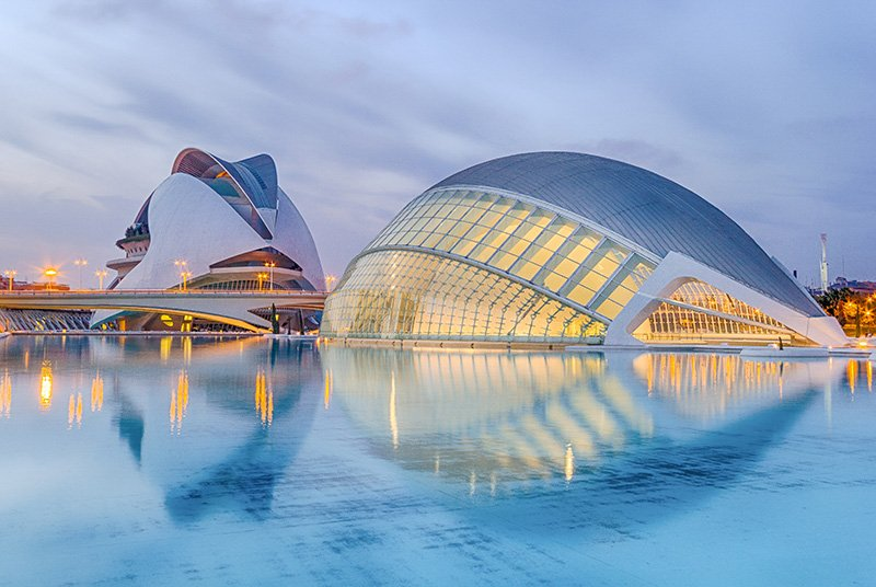 The City of Arts and Sciences in Valencia is one of the most Instagrammable places and photo spots in Spain