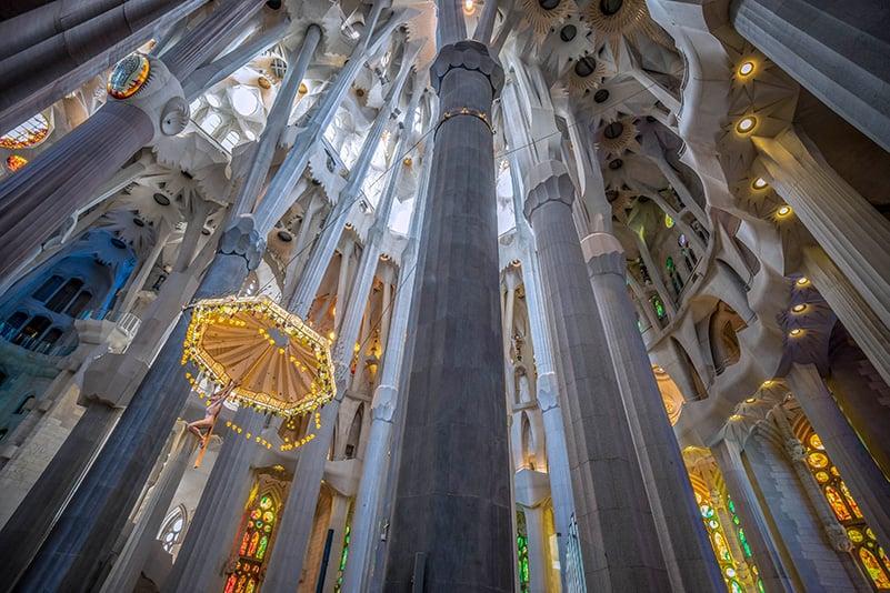 Inside the Sagrada Familia in Barcelona, Spain