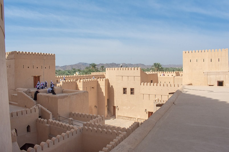 Nizwa Fort is a beautiful castle. It's one of the top things to do in this travel guide of Oman.