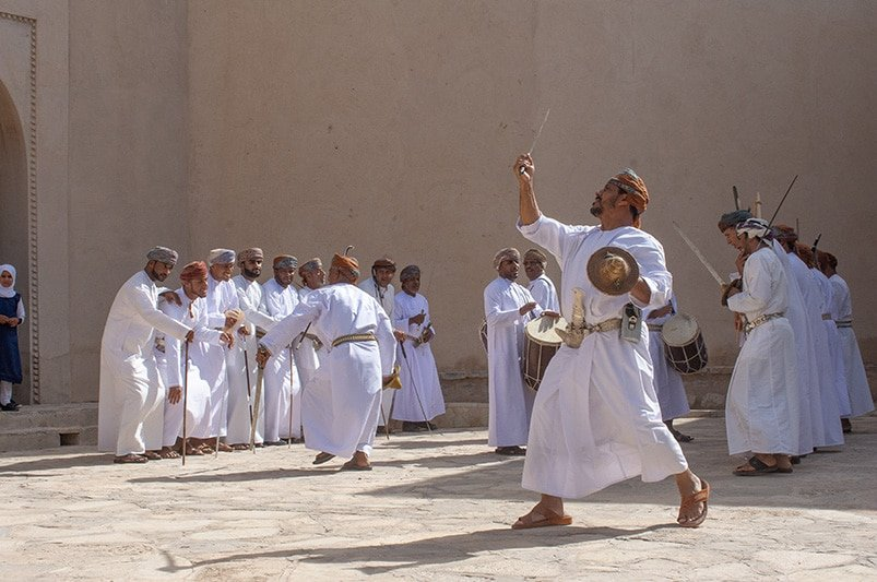 Nizwa Fort is a worthwhile attraction in Oman for multiple reasons. The traditional Omani sword dance is one of them.