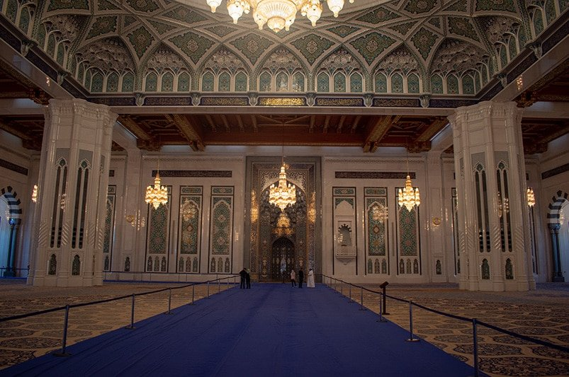 The main prayer hall of the Sultan Qaboos Grand Mosque.