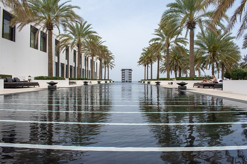 Long Pool at the Chedi Muscat is the longest infinity pool in the region.