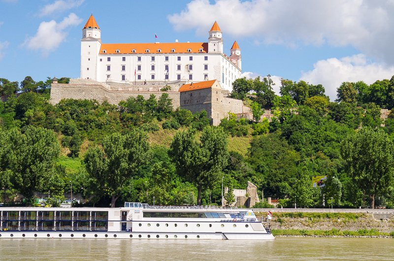 Bratislava Castle is perched on a hill overlooking the Old Town and Danube River.