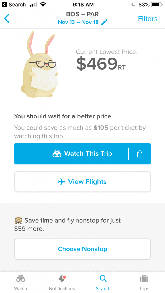 Hopper Price alerts are very insightful and accurate