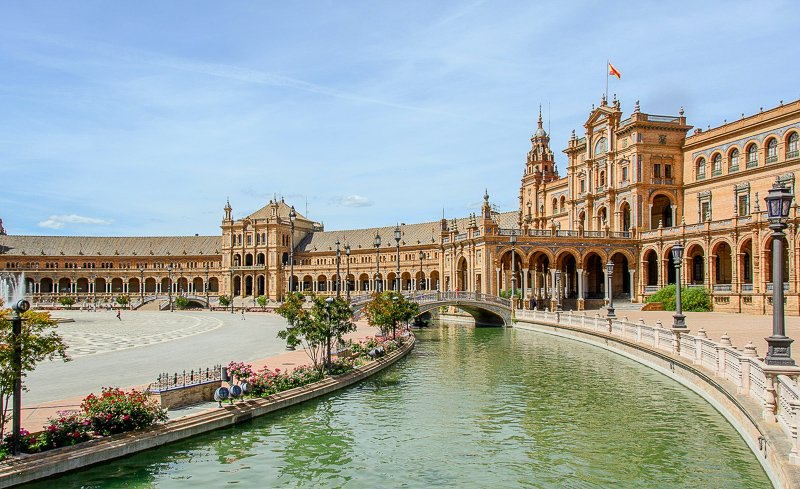 The Plaza de España is in the heart of Sevilla, one of the cheapest cities in all of Europe