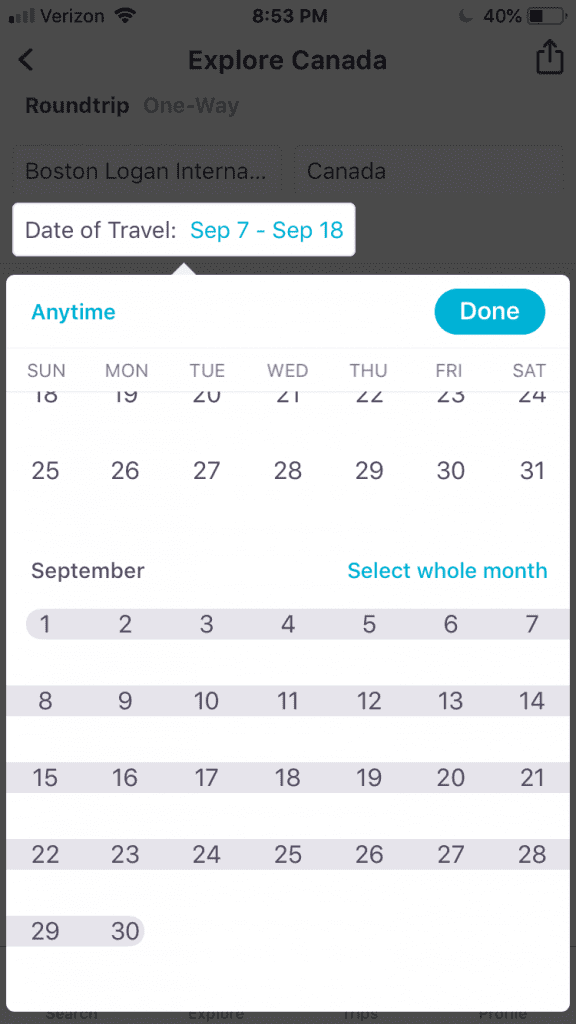 """Skyscanner has a """"Select Whole Month"""" option that gives you the best flight deals by month."""