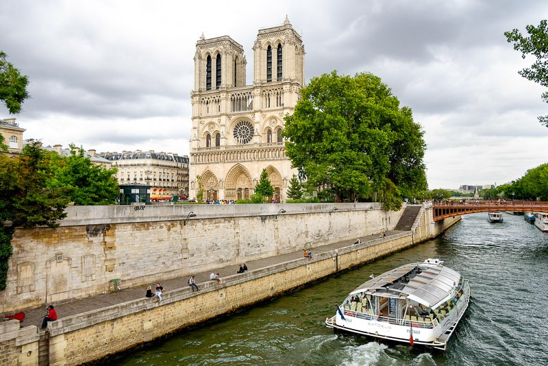 Notre-Dame Cathedral from the River Seine, Paris. It's one of the top UNESCO World Heritage Sites.