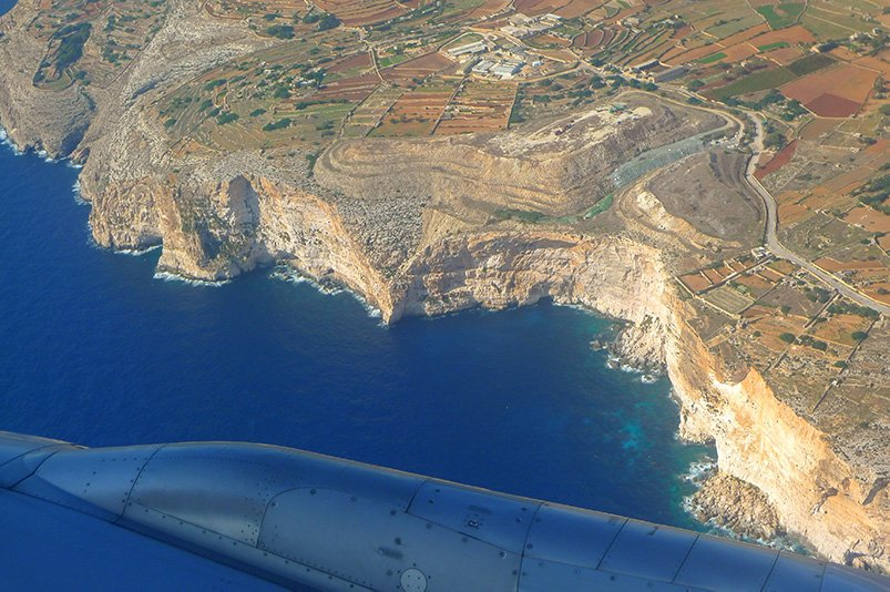 An aerial perspective of Malta's Dingli Cliffs. This scenic area is top among the most Instagrammable places in Malta.
