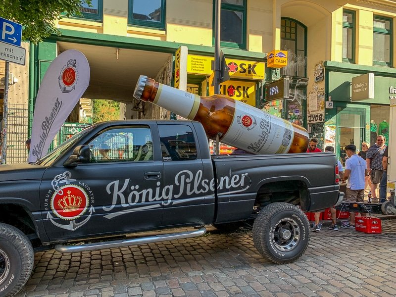 König Pilsner was giving away free beer on a side street in the Schanzenviertel.