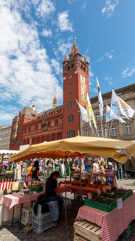 The Rathaus and adjacent Marktplatz are must-see sights in the heart of Basel.