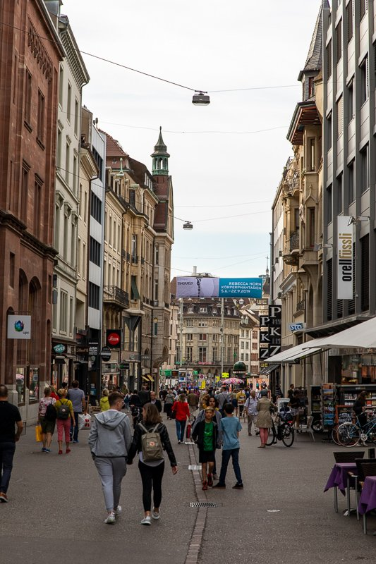 Freie Strasse is a popular pedestrian shopping street in Basel.