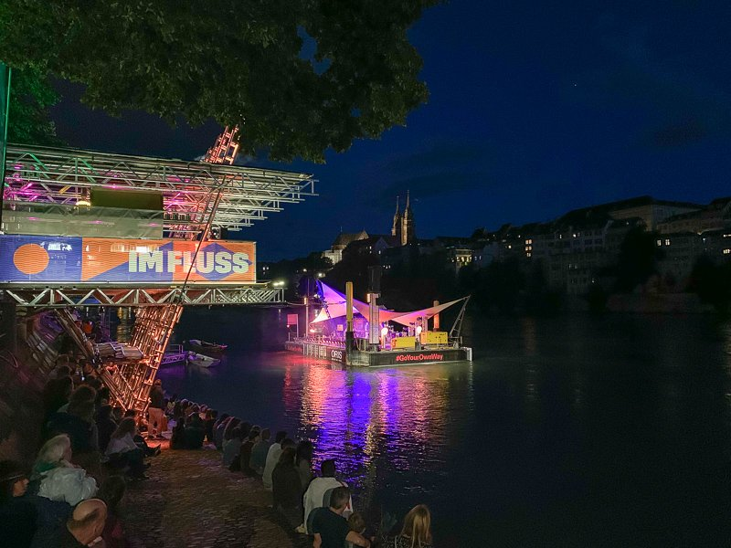 The Imfluss Festival was going on during my visit in August. The floating stage on the river is set up much of the summer.