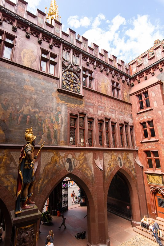 Inside the courtyard, there's an impressive statue of Munatius Plancus, the founder of the first Roman settlement in the Basel region.
