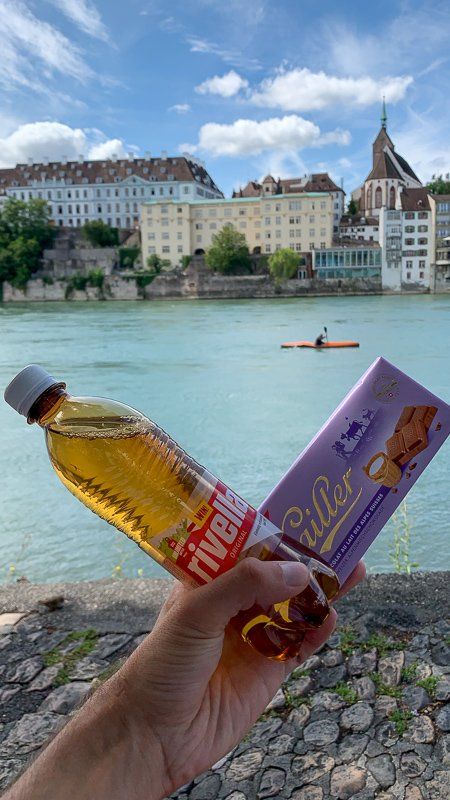 Here are a few of my favorite things I can't resist when I visit Switzerland: Rivella (soft drink), Cailler (chocolate bar), and Butterzopf (bread).