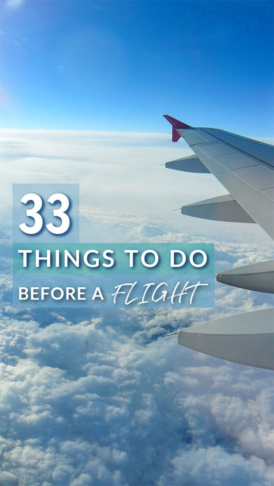 33 things to do before a flight article Pinterest image. Here's what to do before a flight.