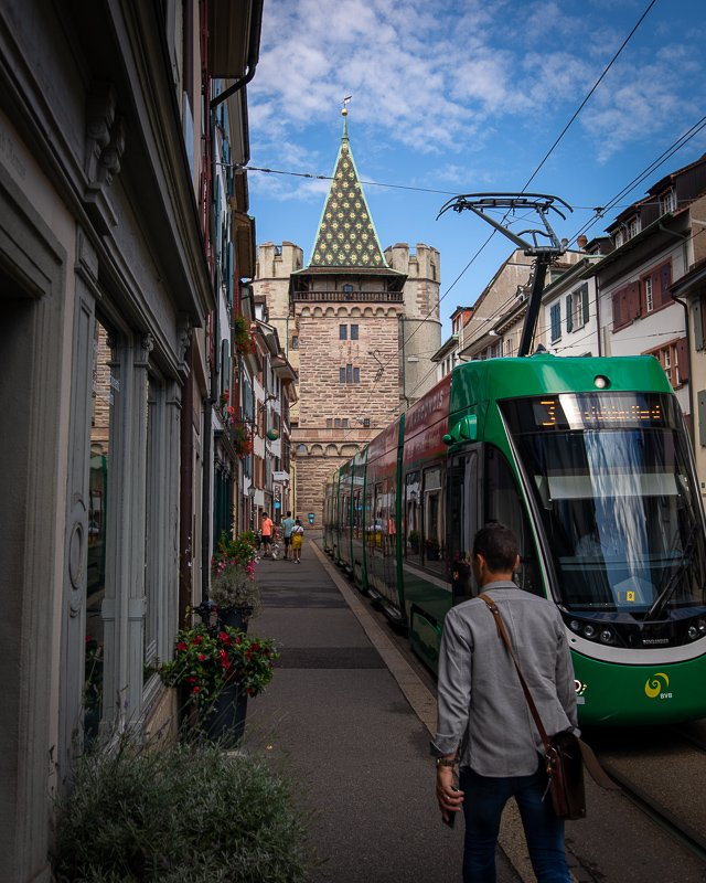 Though the public transportation in Basel is great, I prefer walking around the city.