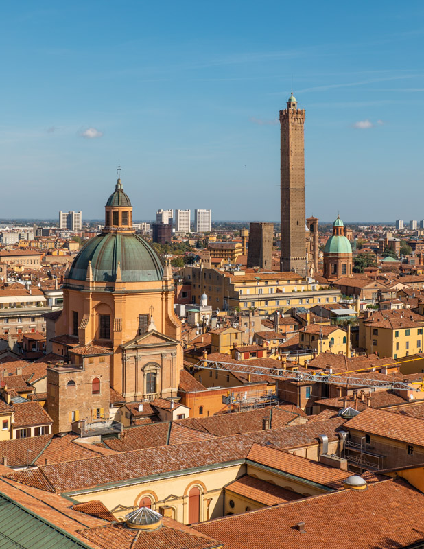 View over the rooftops of Bologna in the Emilia Romagna region of Italy