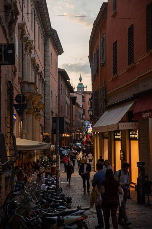 Shopping street in Bologna, with some of the best gelaterias