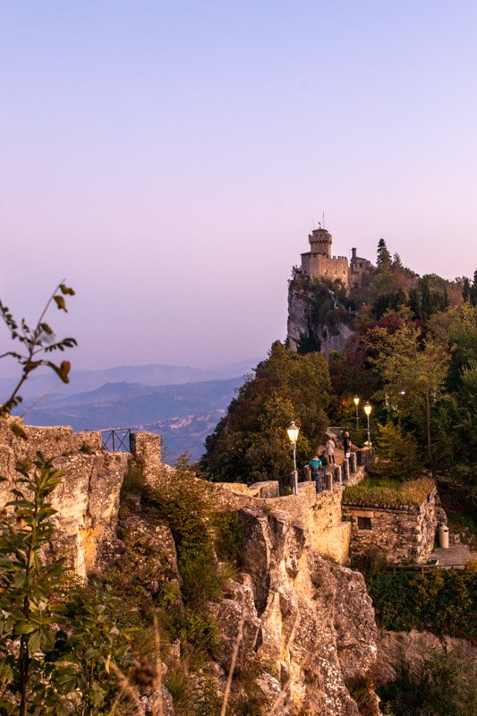 San Marino at Sunset, one of the best day trips from Bologna in Emilia Romagna