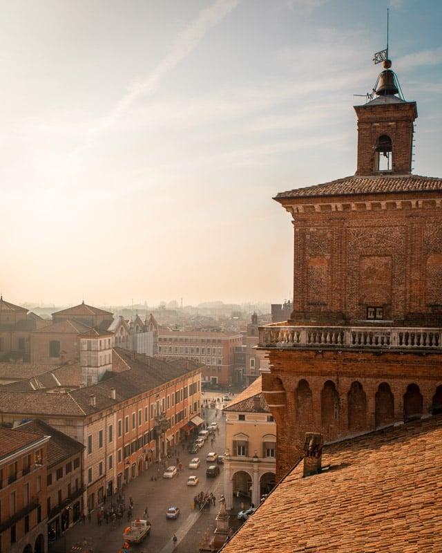View over Ferrara from Castello Estense on a day trip from Bologna