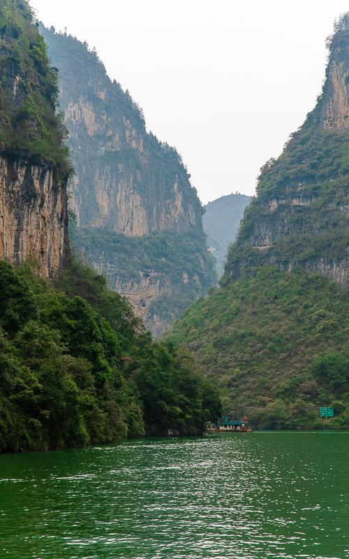 The Mini Three Gorges appear much taller than the regular Three Gorges on the Yangtze River.