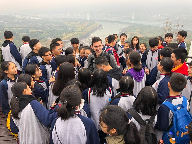 I met many Chinese students during my visit to the Three Gorges Dam