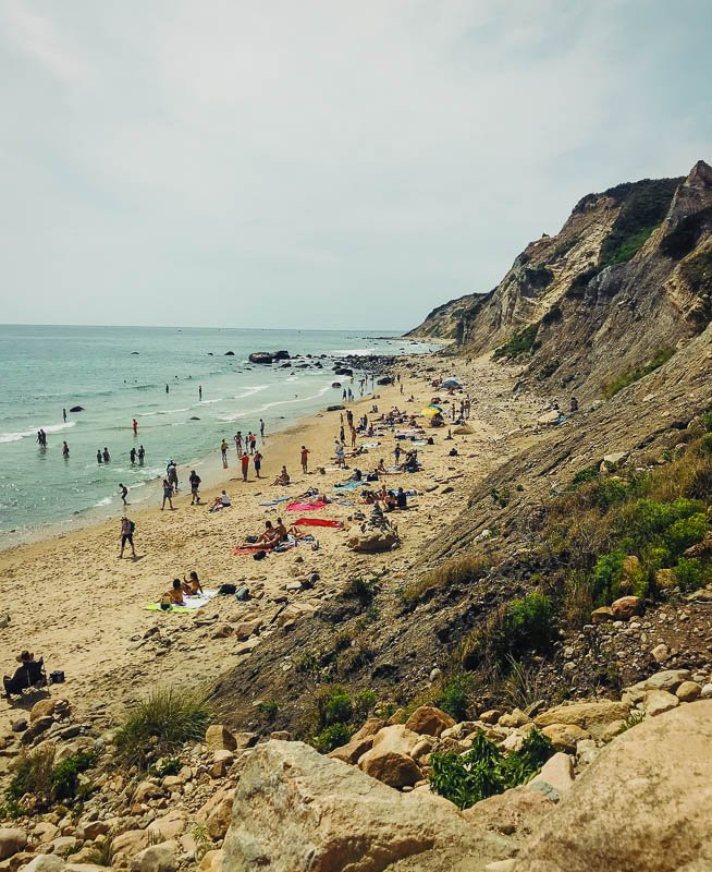 Located on the southern shoreline of Block Island, Mohegan Bluffs are clay cliffs that are 150 feet tall.