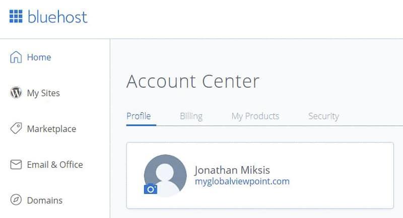 Bluehost Account My Sites sidebar