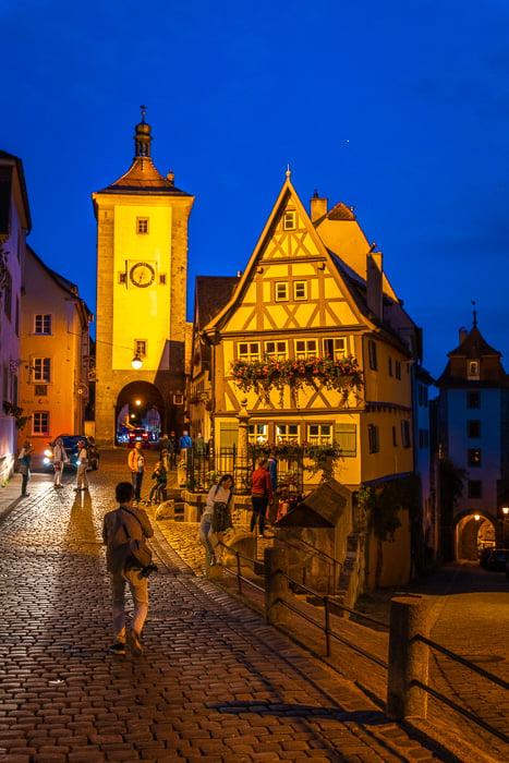 Plönlein at night in Rothenburg ob der Tauber.