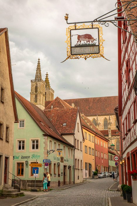 Beautiful streets are sprawled around St. Jacob's church in Rothenburg ob der Tauber, ideal for capturing the perfect Instagram photo.