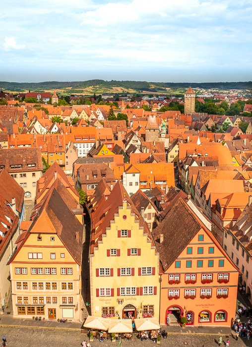 The Rathaus has a viewing platform with incredible views of Rothenburg ob der Tauber, perfect for taking photos.
