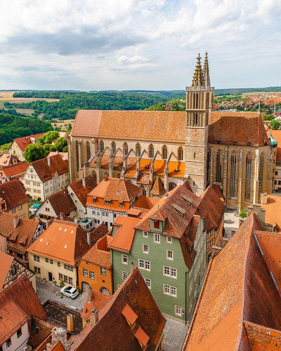 View of St. Jacob's Church from the Rathaus viewing platform.