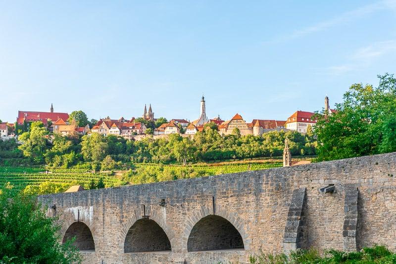 The Tauber Bridge in Rothenburg ob der Tauber dates back to the 1300s.