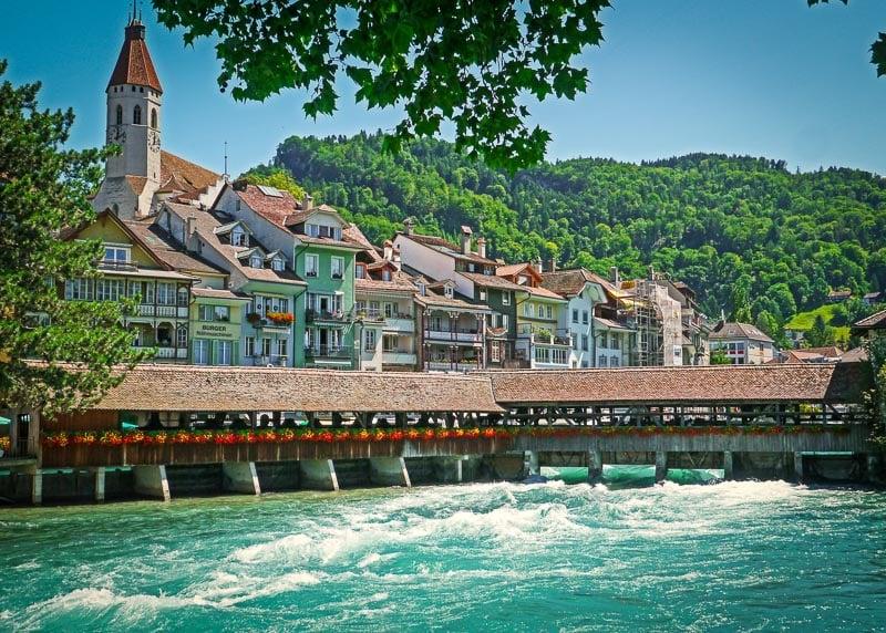 Thun has a beautiful river that flows through town.