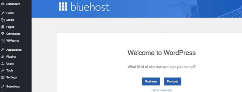 Bluehost dashboard on WordPress travel blog