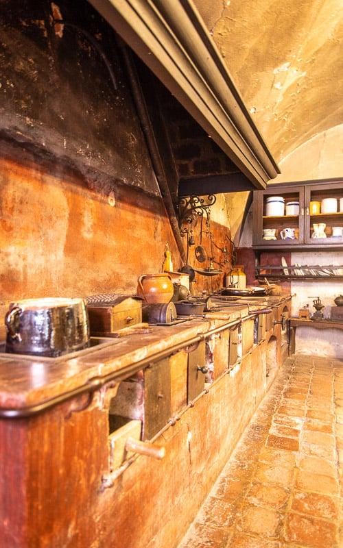 An old, traditional Italian kitchen found inside the Rocca di Dozza.