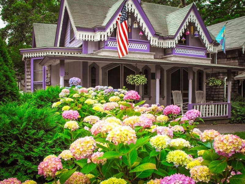 Martha's Vineyard is known for these colorful gingerbread cottages. It's a must-visit on this New England road trip itinerary.
