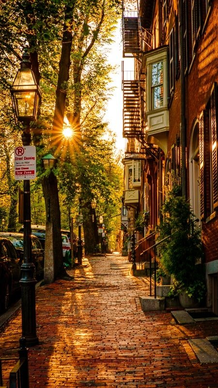 Boston's Beacon Hill neighborhood is the US-equivalent of Europe's old towns.