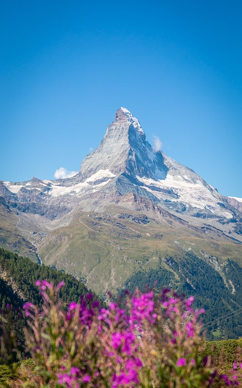 The Matterhorn is amazing on its own, but it helps using a prop in the foreground to make the view even more spectacular.
