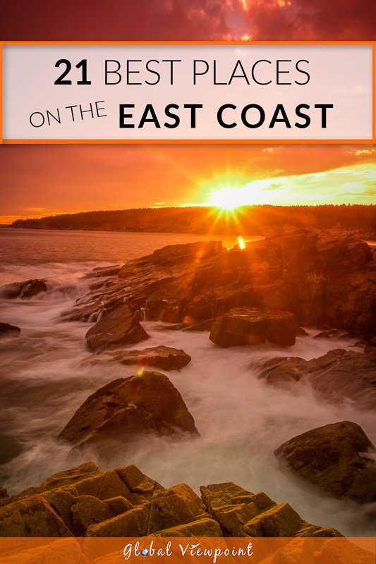 Best places to visit on the east coast of the USA pinterest image.