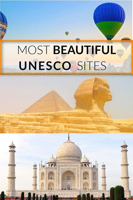 Most beautiful UNESCO World Heritage Sites pinterest image.