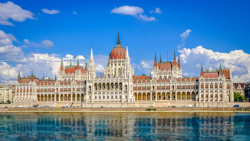 Budapest's beautiful Parliament Building on the Danube River.