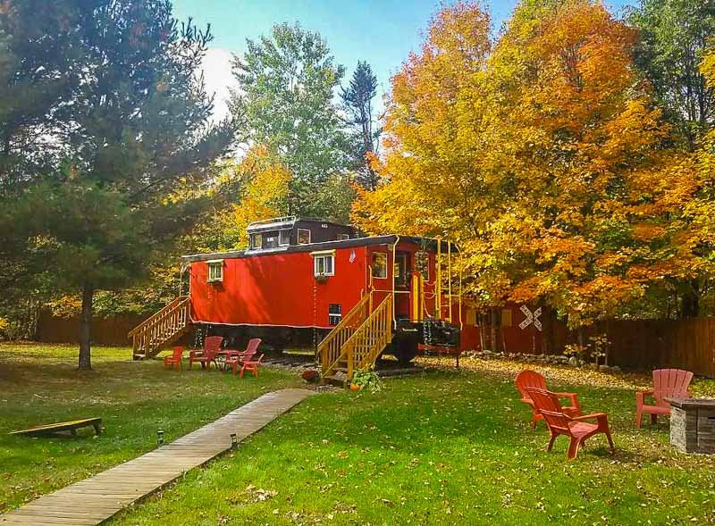 This caboose, or train, is one of the most scenic accommodations in New Hampshire.